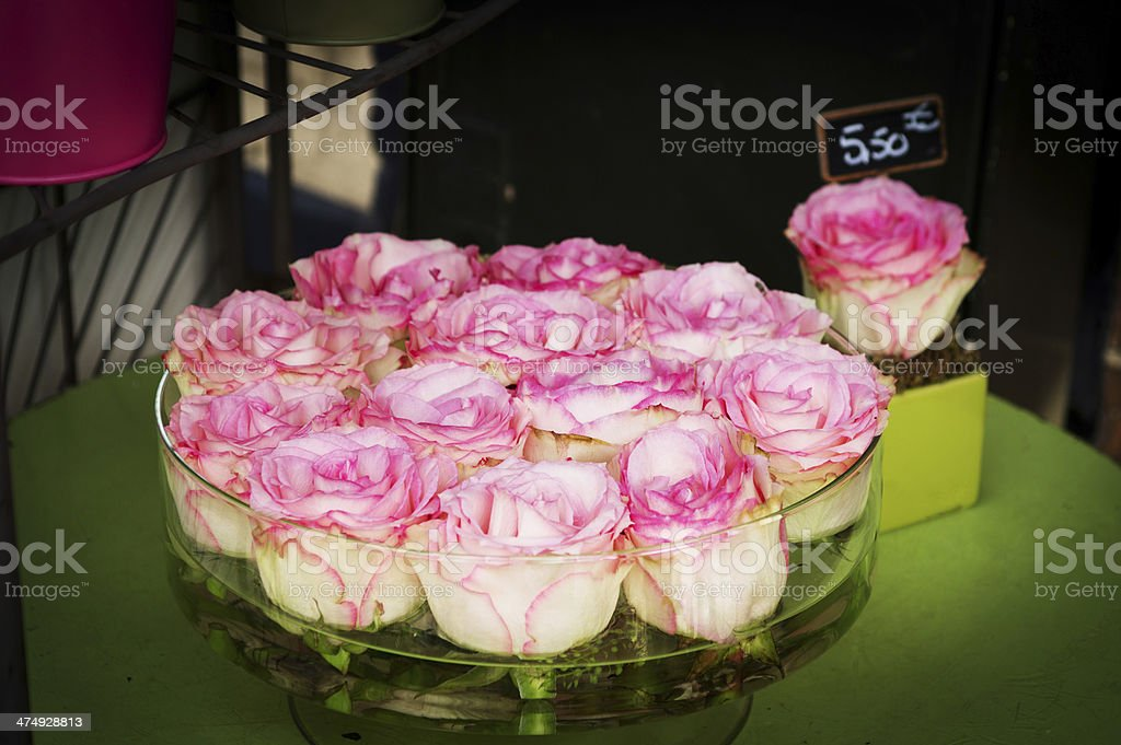 Pink and white roses in a bowl royalty-free stock photo