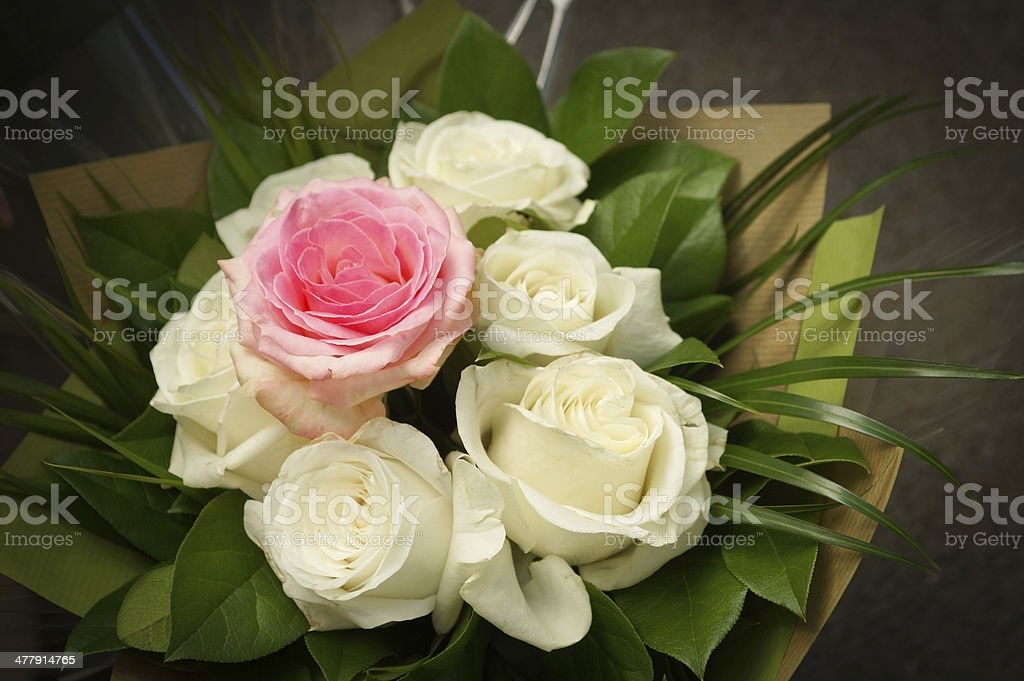 Pink and white roses in a box royalty-free stock photo