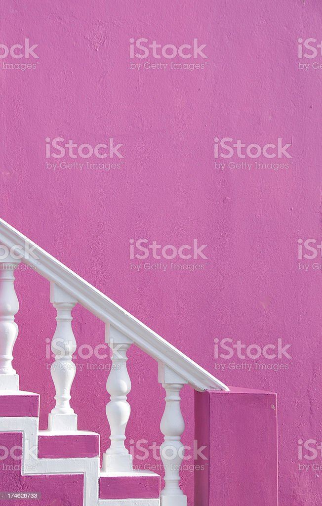 Pink and white stairs stock photo