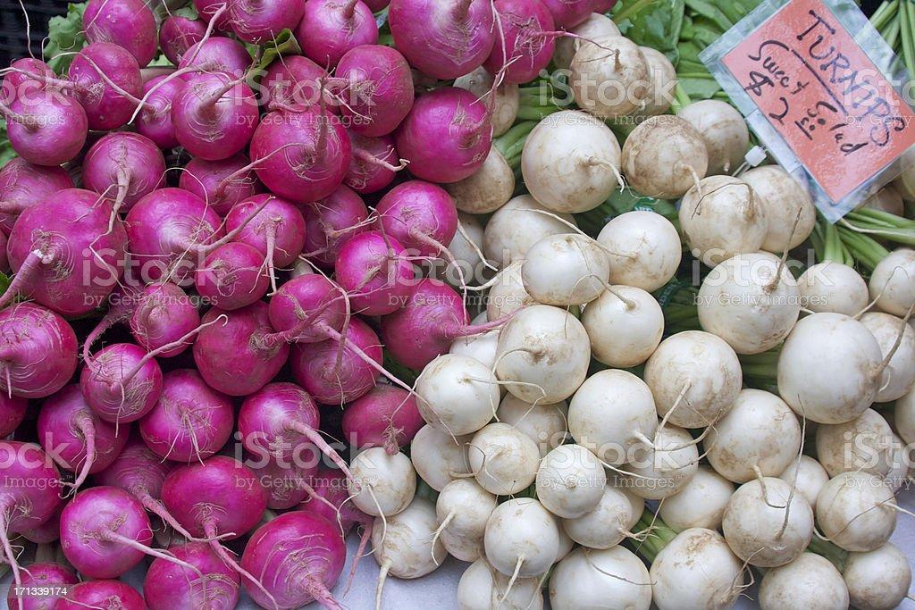 pink and white turnips stock photo