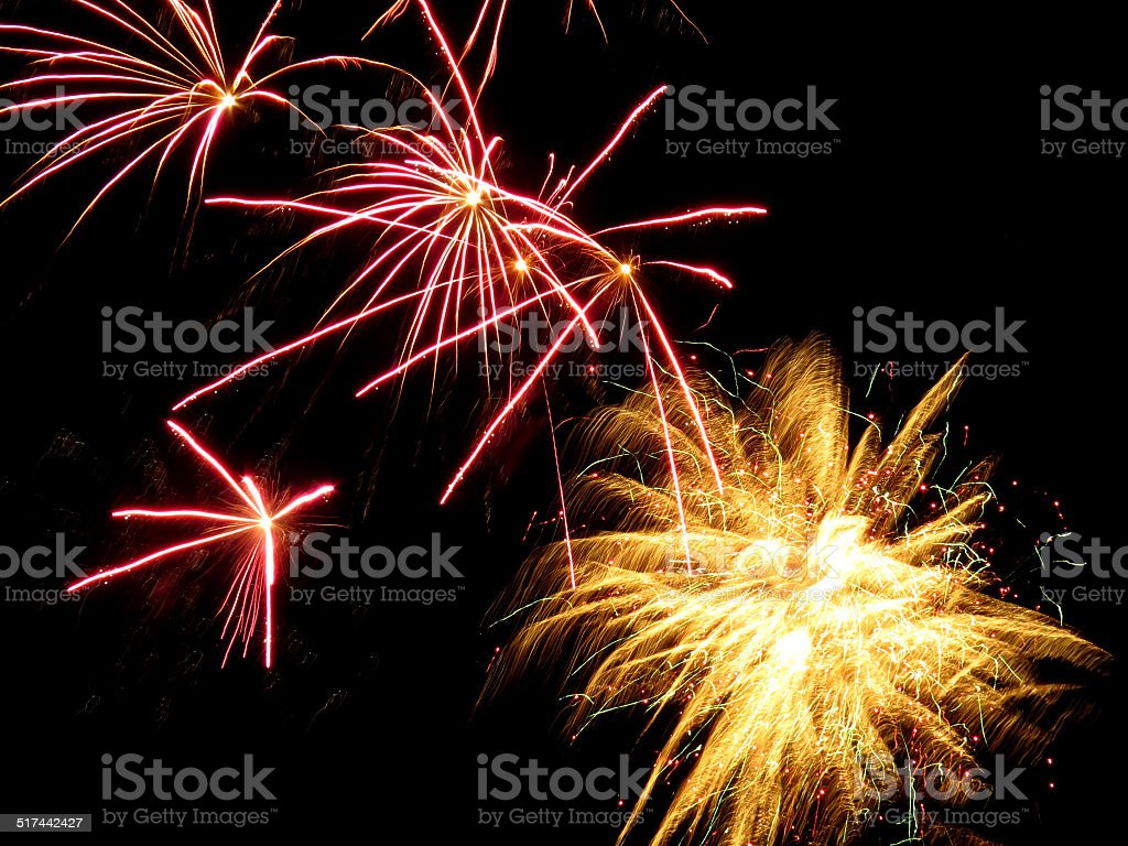 Pink and yellow fireworks stock photo