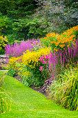 Beautiful flowerbeds in the Botanical Garden of Gothenburg, Sweden.