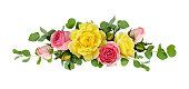 istock Pink and yellow rose flowers with eucalyptus leaves 924716738