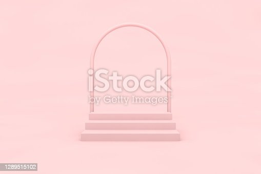 istock Pink arc with stairs in empty pink room, realistic 3d illustration. Winners podium front view, conceptual interior design with empty space for merchandising 1289515102