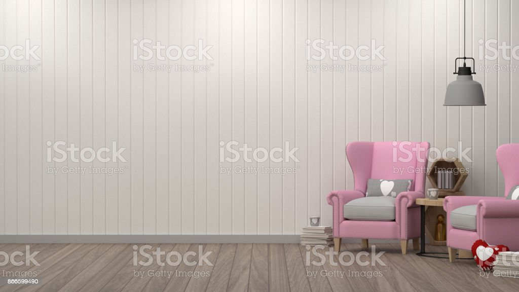 Pink Armchair In Simple Living Room Front Of White Wall Interior Design 3D Illustration Scandinavian