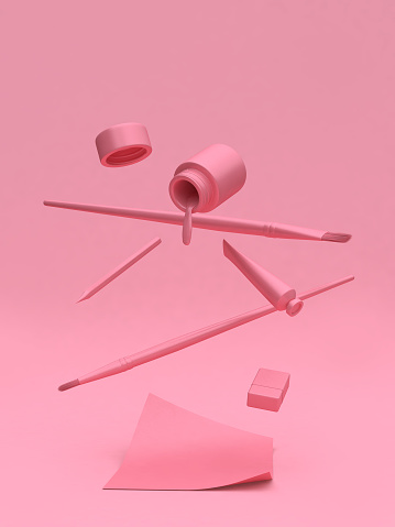 pink art supplies floating with pink background 3d rendering