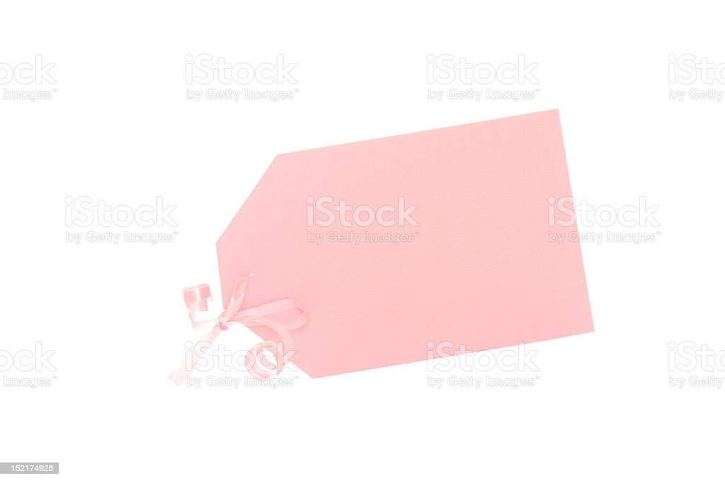 Pink Baby Gift Tag with curly ribbon( It's a Girl) royalty-free stock photo