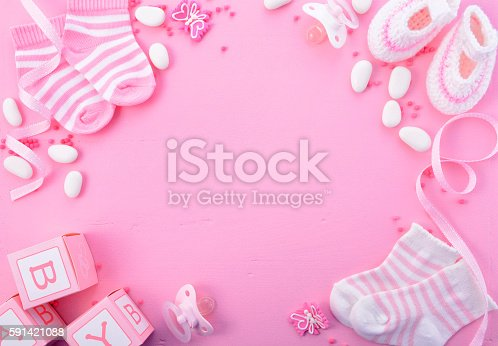 istock Pink Baby Shower Nursery Background 591421088