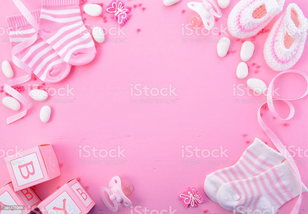 Pink Baby Shower Nursery Background - foto stock