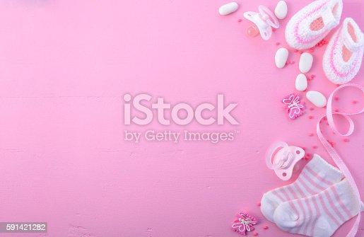591421282 istock photo Pink Baby Shower Nursery Background 591421282