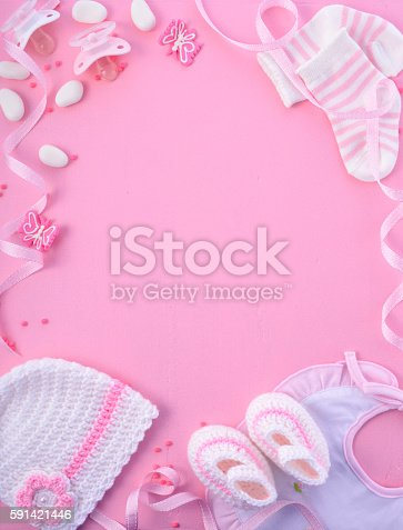 591421282 istock photo Pink Baby Shower Nursery Background 591421446