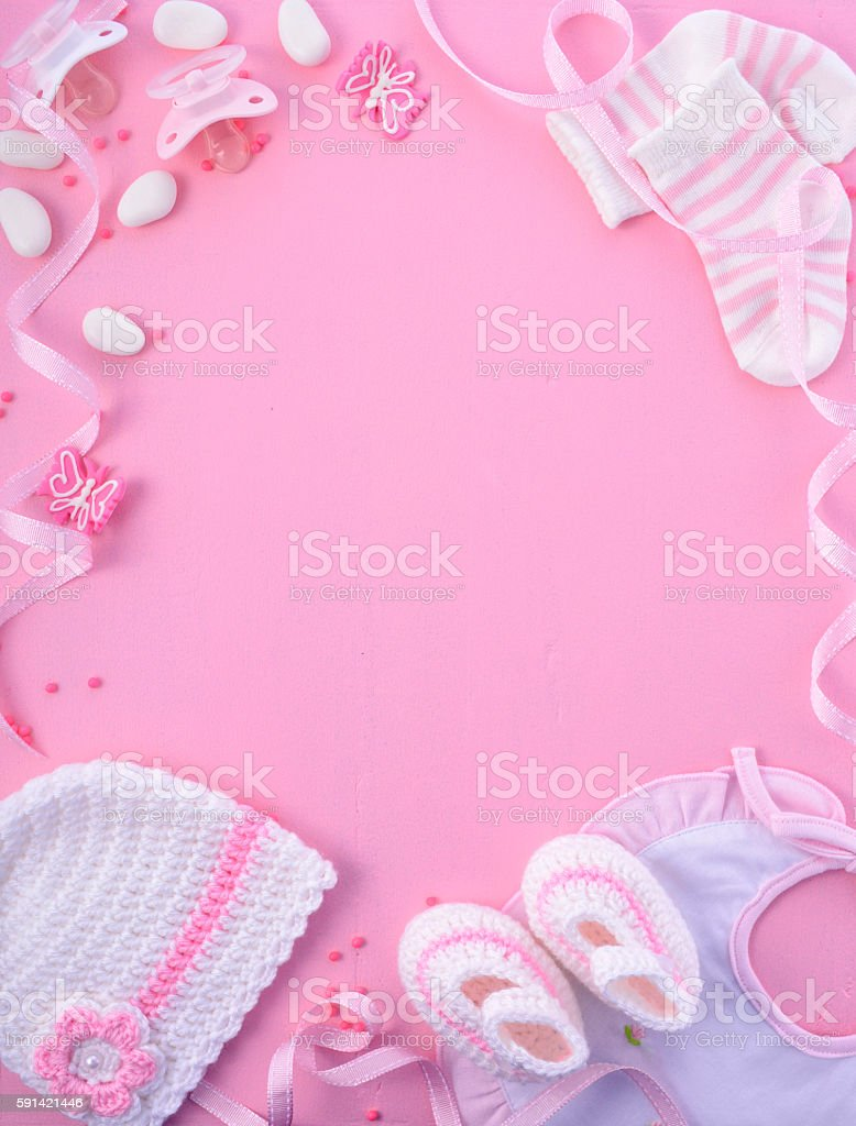 Pink Baby Shower Nursery Background stock photo