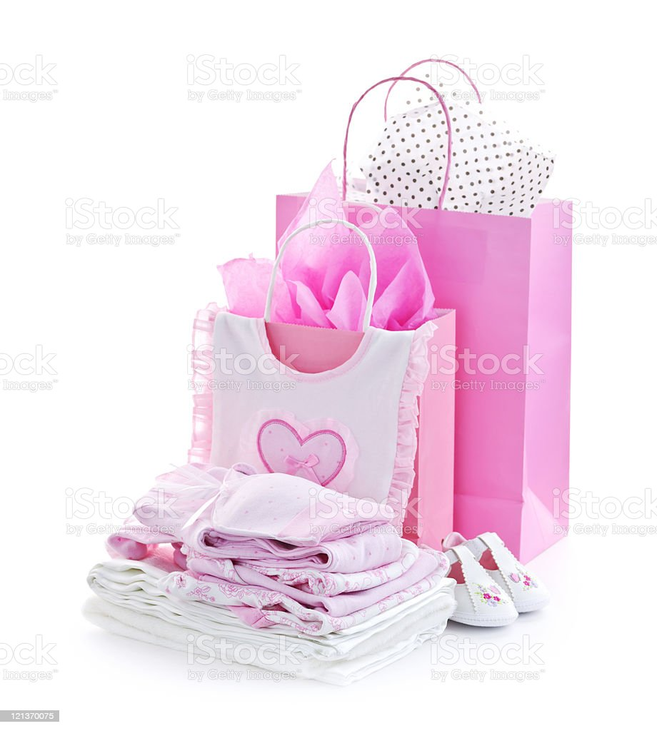 Pink baby shower presents royalty-free stock photo