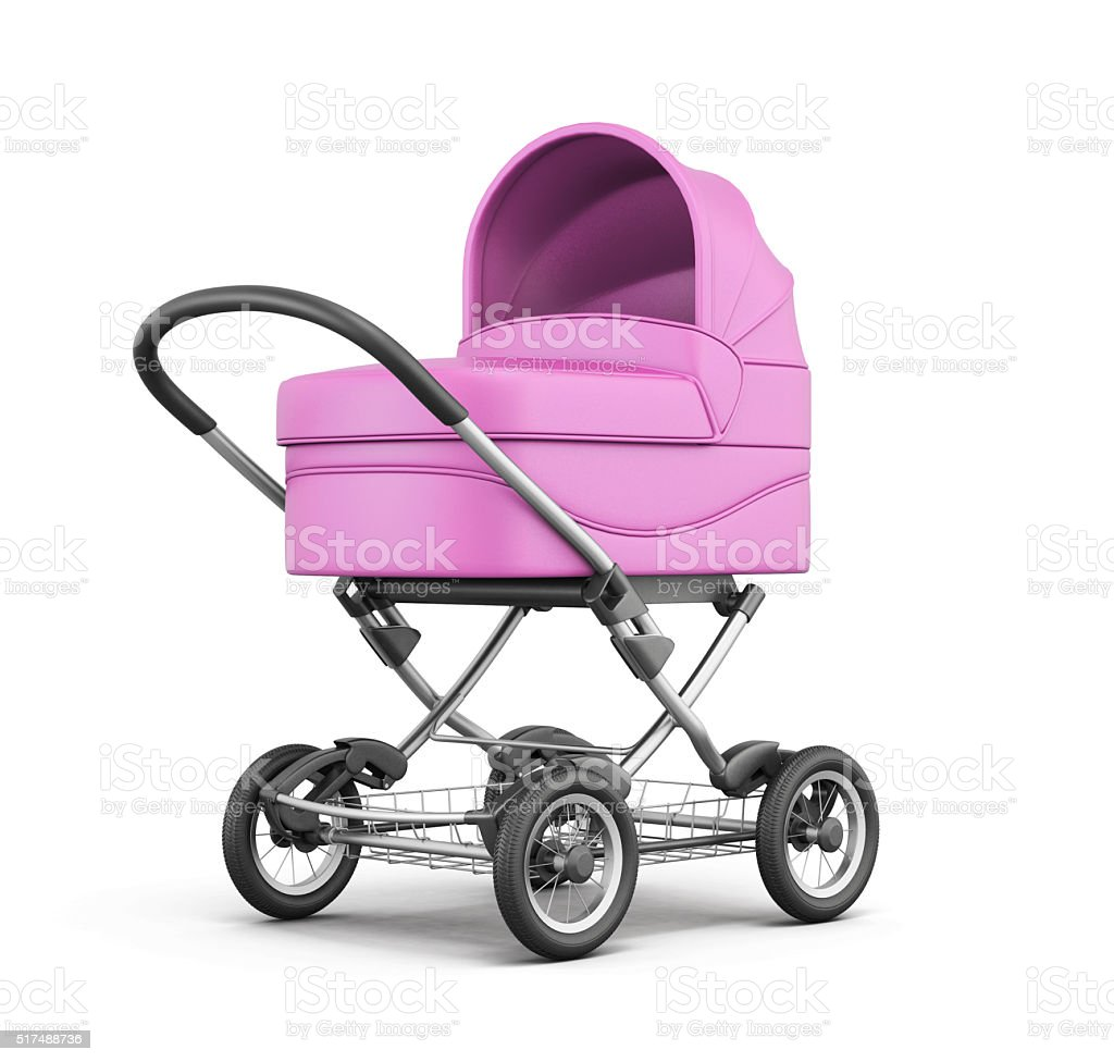 Pink baby stroller isolated on white background. 3d rendering stock photo