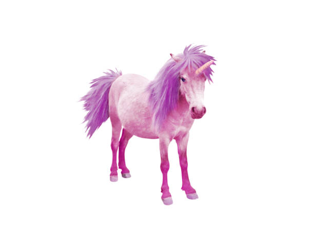 Pink baby unicorn horse with violet mane and tail stock photo