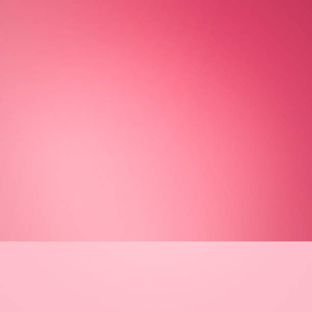 Fundo rosa. Prateleira em branco para o produto de exposição. - foto de acervo