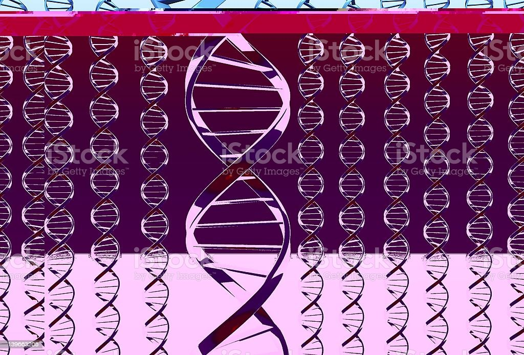 A pink background of Dna strands stock photo