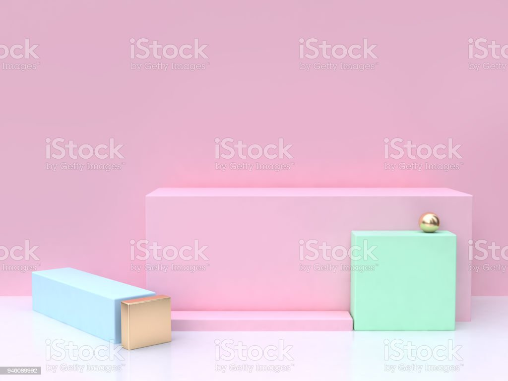 pink background pink square 3d rendering minimal abstract background stock photo