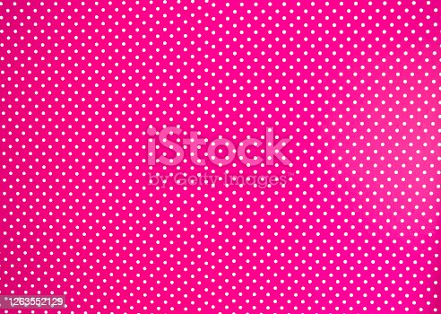 Pink background texture with white polka dots, Pink and white spot pattern can be used for background retro modern design beauty