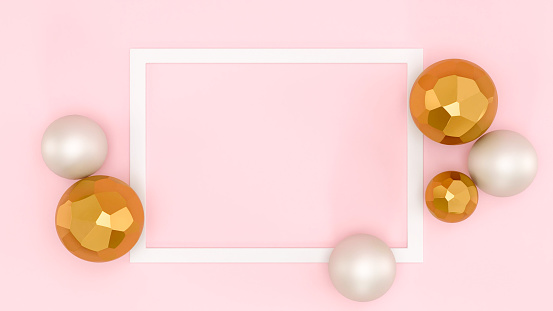Abstract frame template with space for text. Christmas cute celebration card, graphic design elements banner Pink background, white frame, gold and white shape spheres minimalist background, top view.