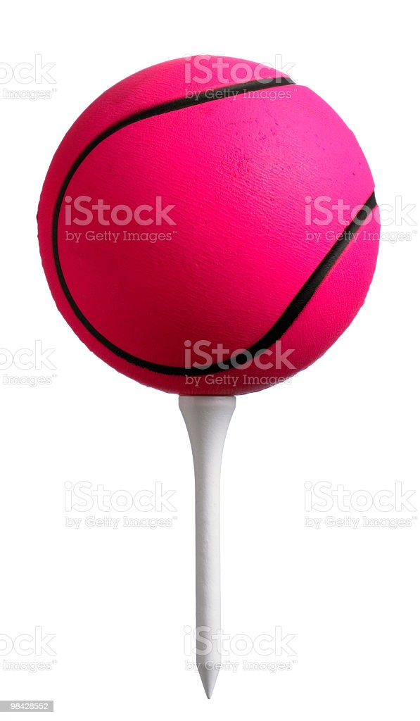 Pink ball on tee royalty-free stock photo