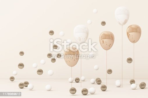 istock Pink  balloon  surrounding by a lot of gold and white ball. 3d rendering 1178989612