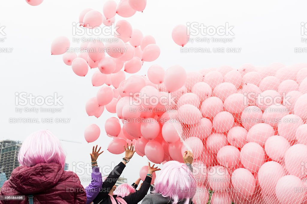 Pink balloons against breast cancer stock photo