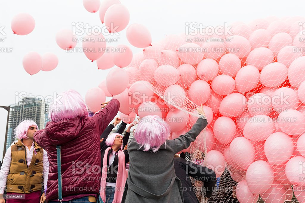 Pink balloons Breast cancer stock photo