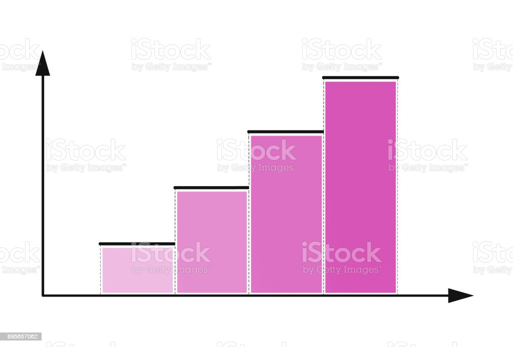 Pink bar chart stock photo
