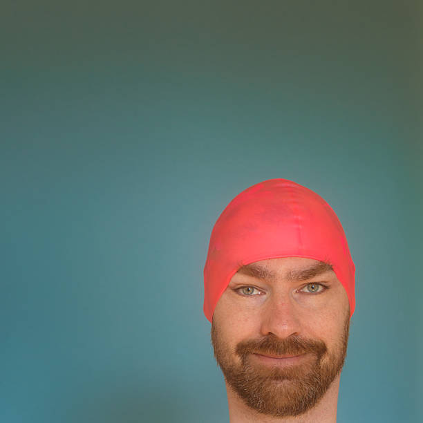 Pink bathing cap stock photo
