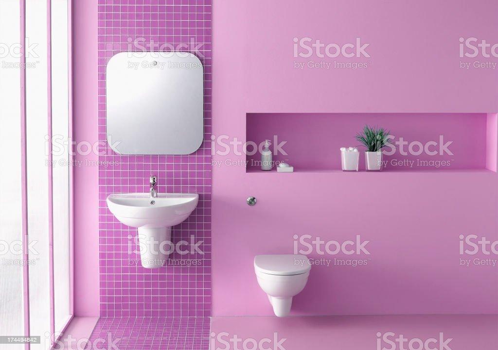 Pink bathroom stock photo