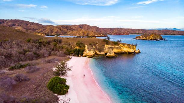 Pink Beach - Komodo National Park, Indonesia stock photo