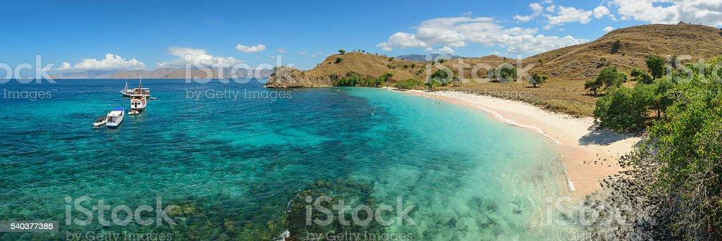Pink Beach panoramic stock photo