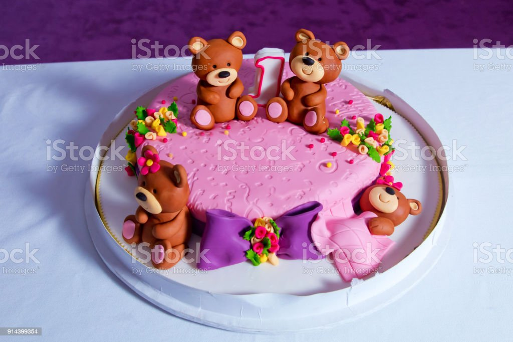 Pink Bear Bears Cake 1 Year Old Birthday Big Beautiful Kids Decorated With Turquoise Teddy