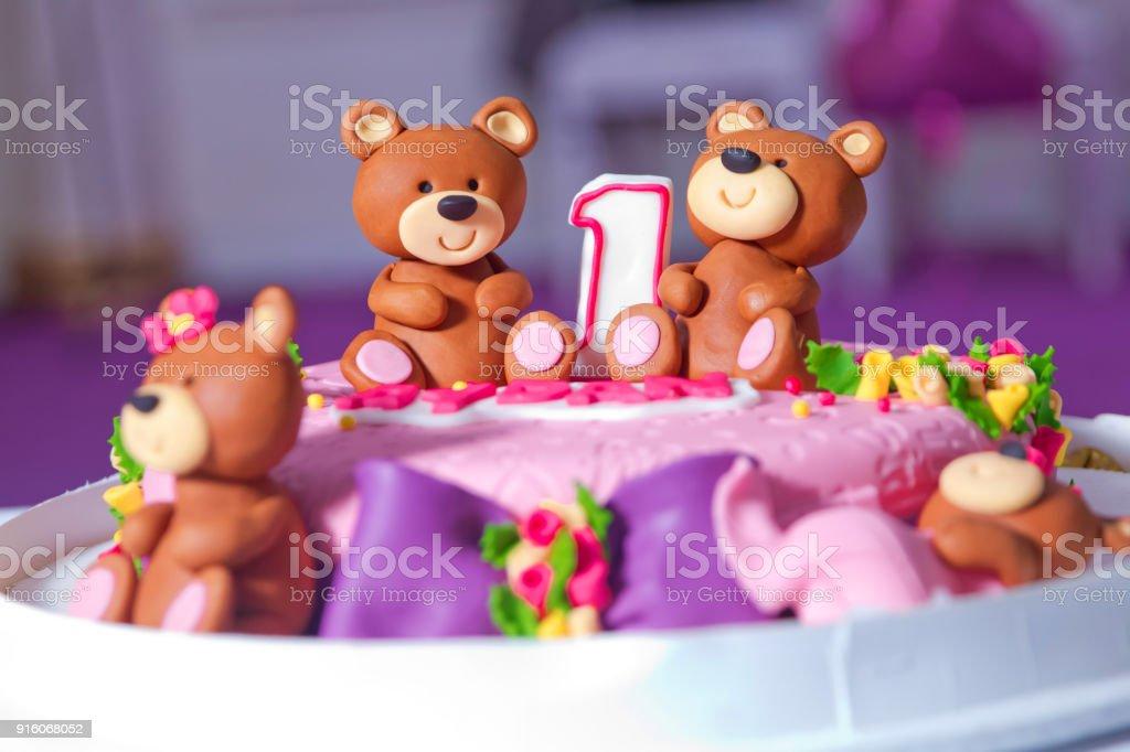 Pink Bear Bears Cake 1 Year Old Birthday Cake Big Beautiful Kids