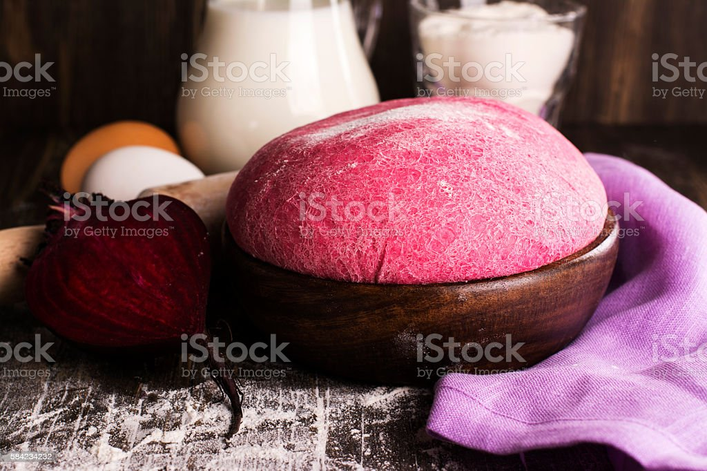 Pink beetroot dough and ingredients stock photo