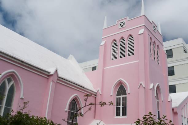 Pink Bermuda Church stock photo