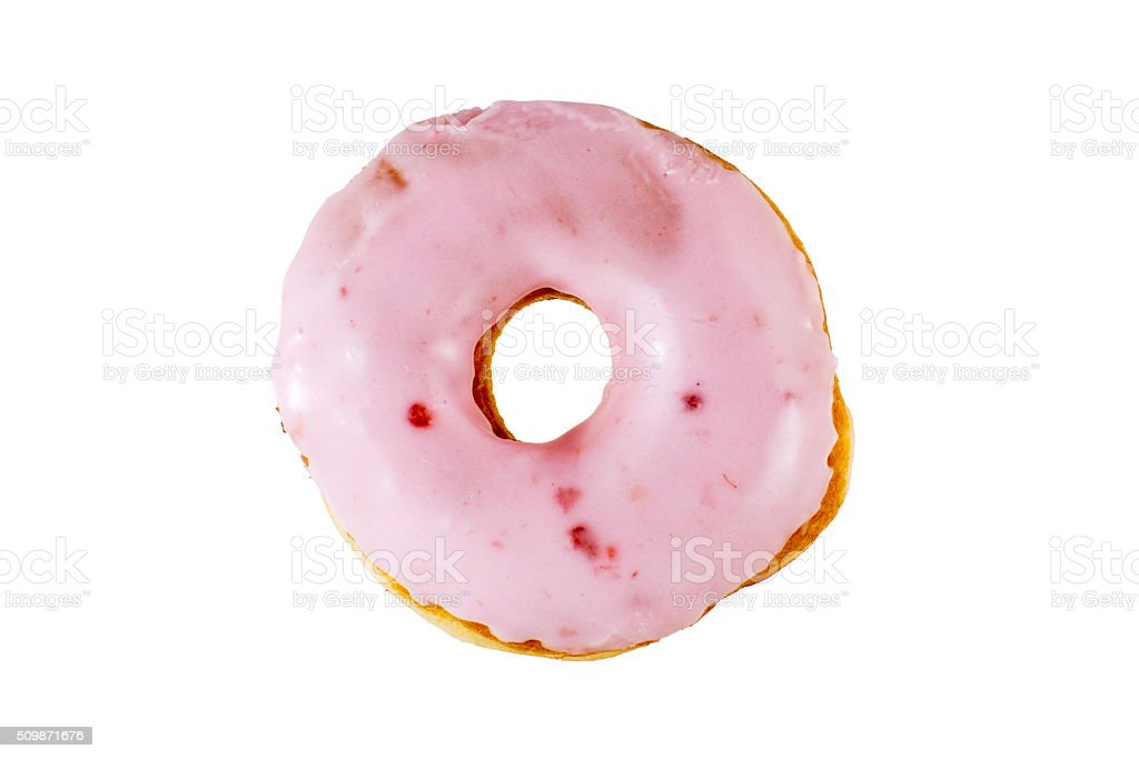 Pink berry donut isolated stock photo
