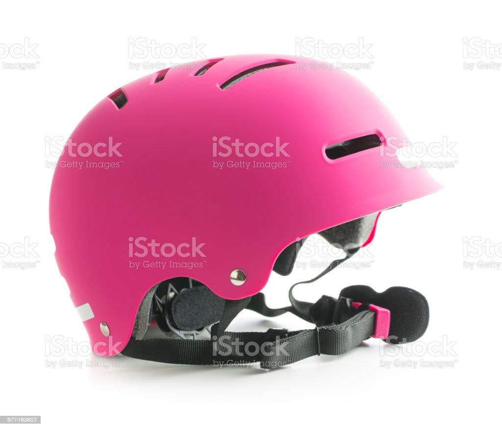 Pink bike helmet isolated on white background. royalty-free stock photo
