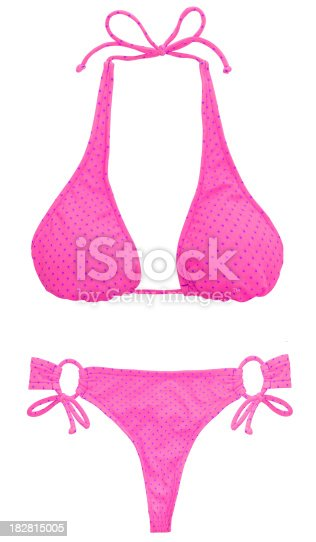 Pink Polka Dot Bikini Isolated on a pure white background.Click on the links below to view lightboxes.