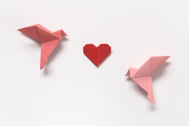 rose des oiseaux et le cœur rouge de l'origami sur fond blanc. carte-cadeau pour la saint-valentin. - origami photos et images de collection