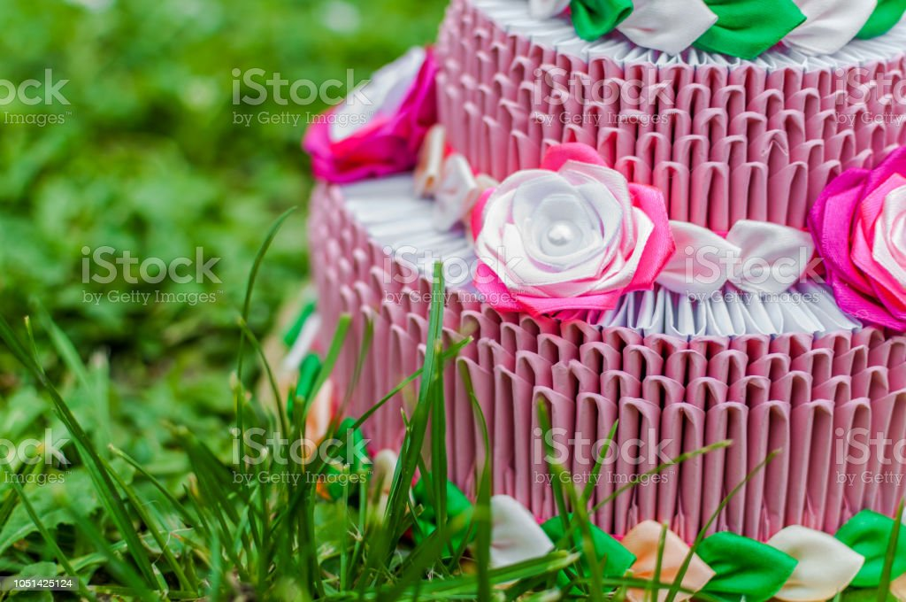 Incredible Pink Birthday Cake With 3D Origami On Green Grass Stock Photo Funny Birthday Cards Online Inifodamsfinfo