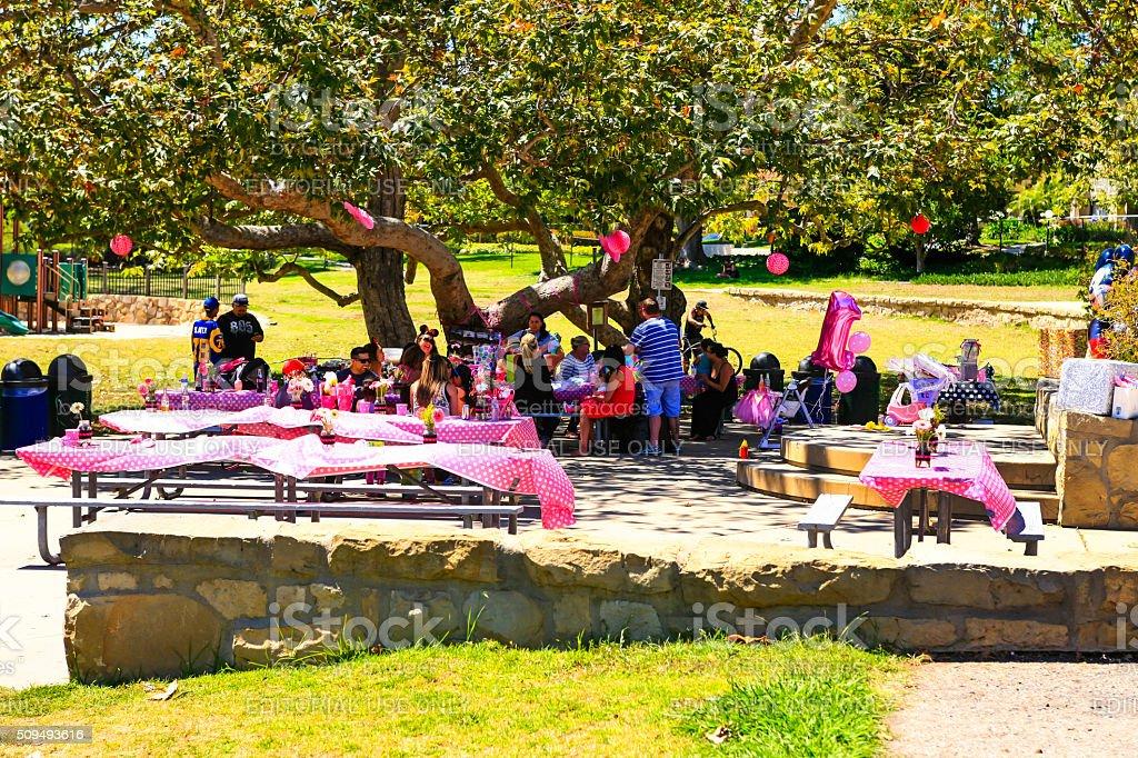 Розовый день рождения в парке в Санта-Барбару, Калифорния стоковое фото