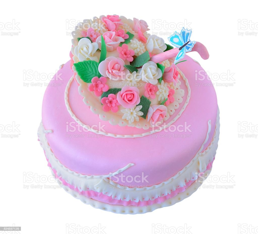 Pink Birthday Wedding Cake With Flowers And Butterfly Isolated Stock