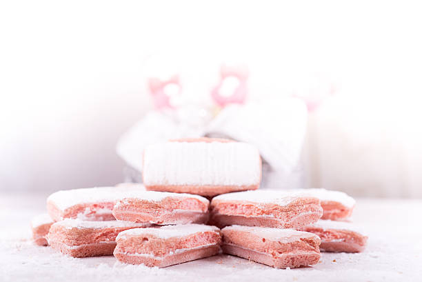 Pink biscuits from Champagne, France stock photo