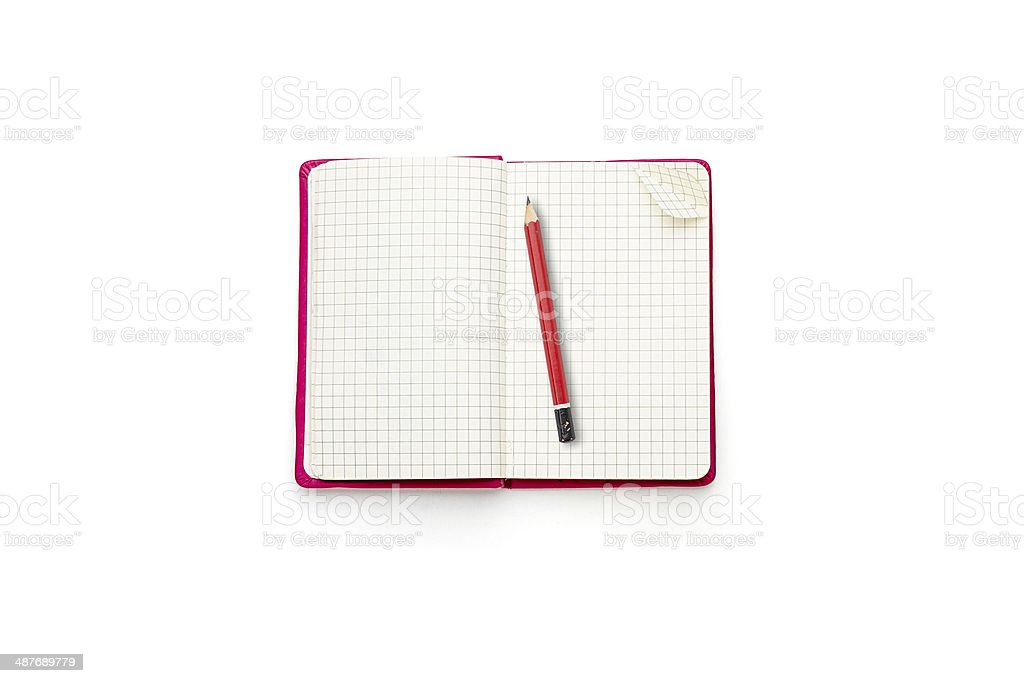 pink blank open diary with red pencil stock photo
