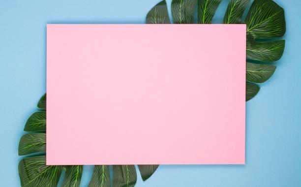 Pink blank sheet of paper on tropical leaves on a soft blue picture id1295571700?b=1&k=6&m=1295571700&s=612x612&w=0&h=vbohm0bnsakw6nsdrion6gt5nk fs2sk49jvmlrdrmk=