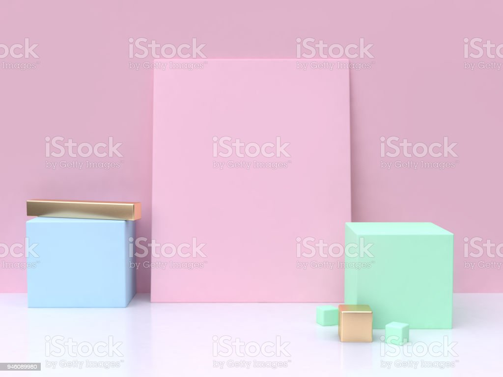 pink blank square blue green cube minimal abstract background 3d rendering stock photo