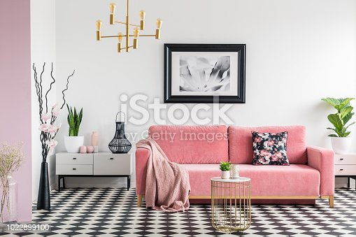 Pink blanket on settee in white living room interior with plants and checkered floor. Real photo