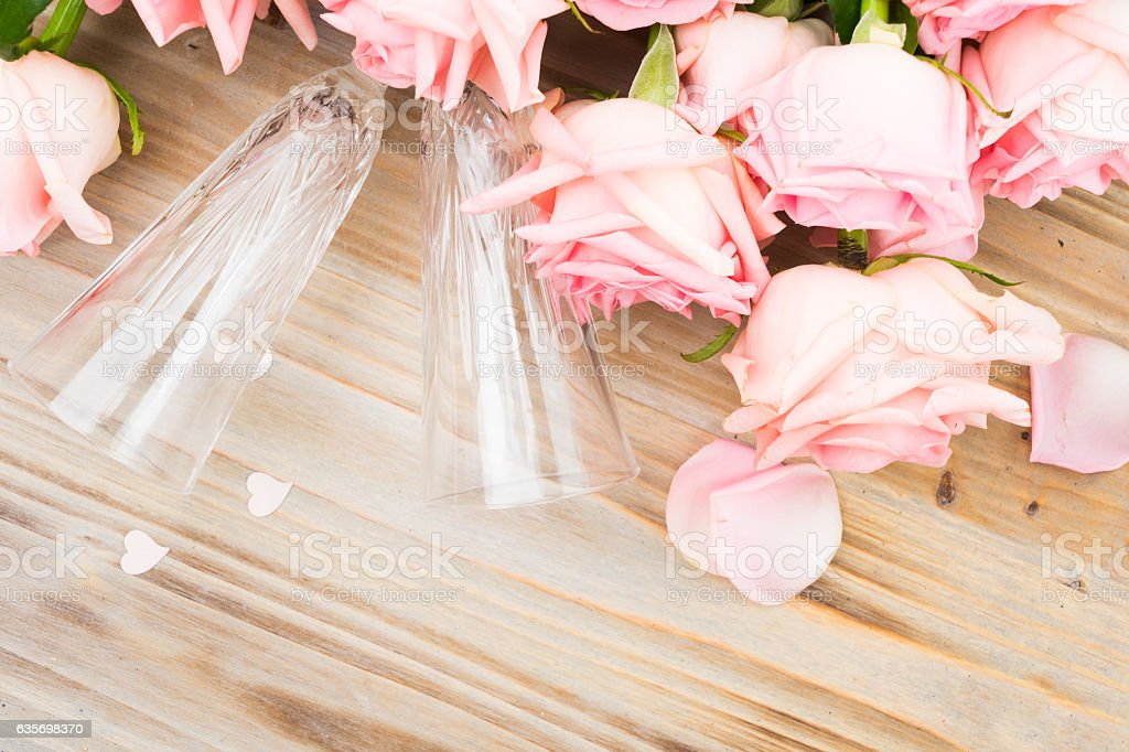 Pink blooming roses on wood royalty-free stock photo